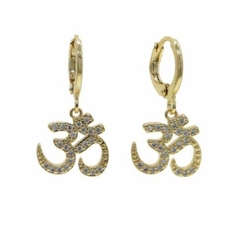 Hochwertig Indien Symbol Om Anhänger Lange Ohrringe Mode Cz Pavé Yoga Schmuck