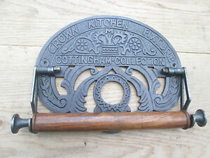 Cast Antique Iron Country Kitchen Roll Tea Towel Holder