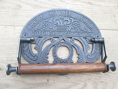 CAST ANTIQUE IRON COUNTRY KITCHEN ROLL TEA TOWEL HOLDER WALL MOUNTED VINTAGE