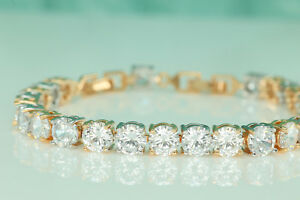 9ct-14K-Yellow-White-Gold-Finish-Diamond-Womens-Bracelet-Tennis-Bracelet-Wedding
