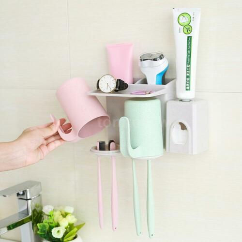 Self Adhesive Wheat Straw Cup Hanger with Toothbrush Holder Wall Mounted P9E7