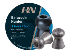 H&N Baracuda Hunter 200 Count HOLLOW POINT 5.5mm .22 Caliber Pellets GERMANY