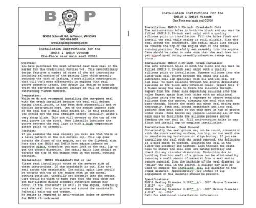 "RMS19 BOP Pontiac V8 421 428 455 One Piece Rear Main Seal 3.25/"""
