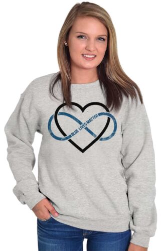 Blue Lives Matter Infinity Sign Thin Line Police Cop Gift Pullover Sweatshirt