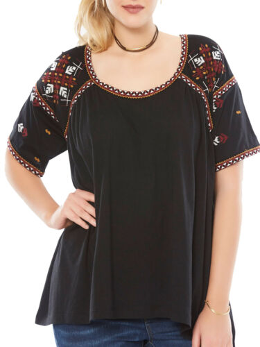 NEW ex Roamans BLACK Embroidered Peasant Boho Tee Shirt Top size 14-16 to 34-36