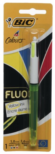 NEW BIC 4 Colours in 1 Fluo Ballpoint Pen Black Blue Red Fluo Yellow Medium Nib