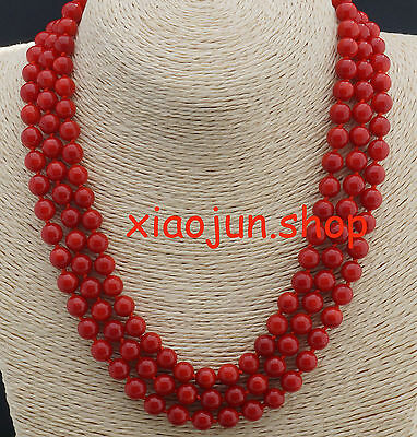 Genuine 3 Rows 8mm Round Red Natural Coral  Necklace 17-19inch