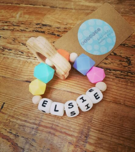 Wooden Silicone Eco Friendly Teething ring PERSONALISED Choose Your own