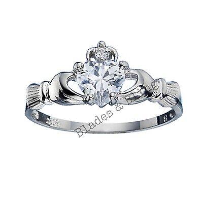 Sterling Silver Claddagh ring size 5 CZ Heart Cut Crown Clear Irish New 925 r04