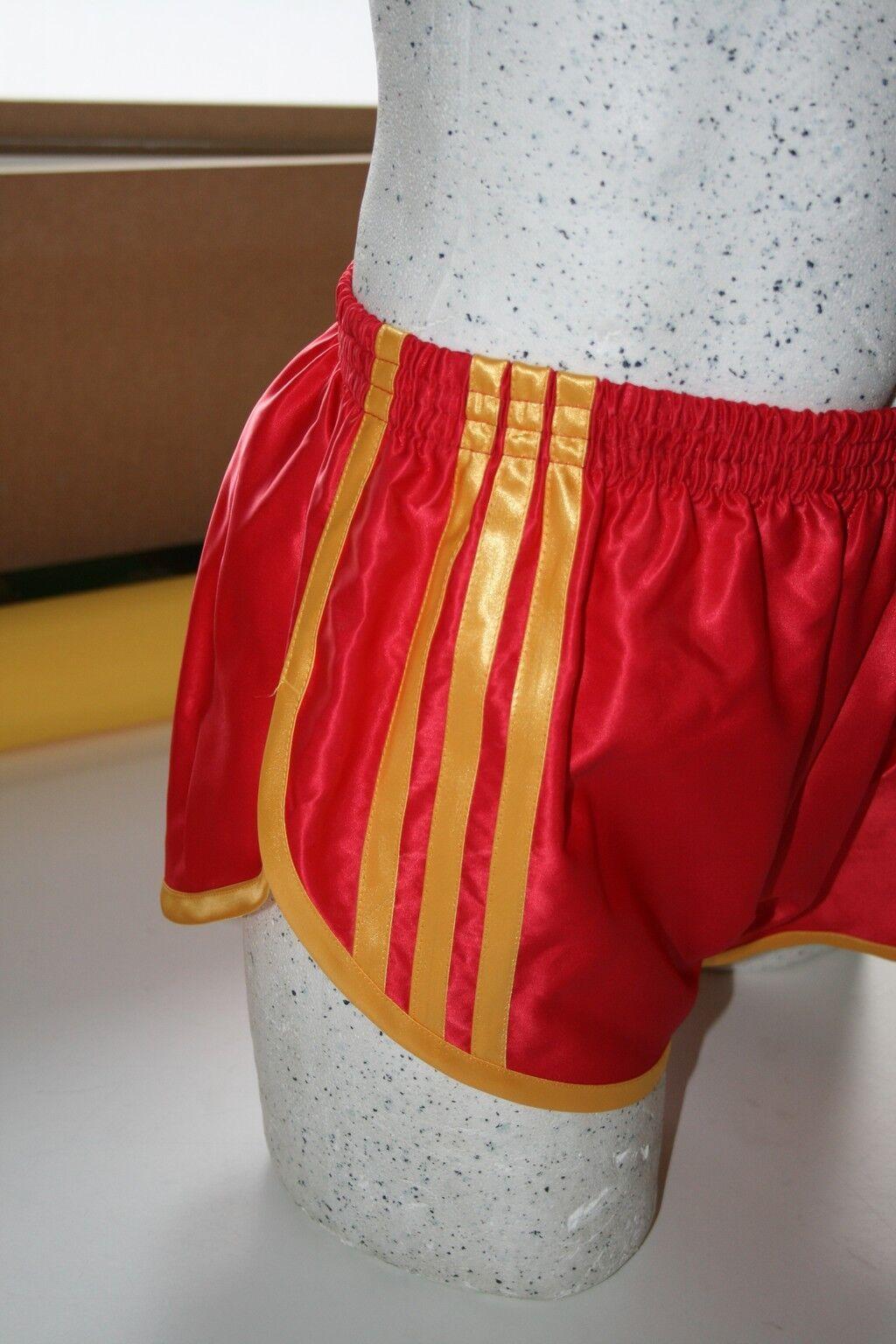 Retro Nylon Satin Sprinter Shorts S to 4XL, Red - gold
