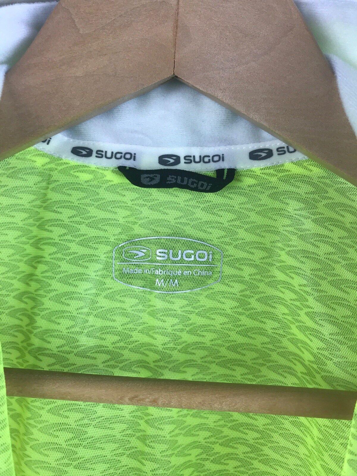 NWOT Sugoi HydroLite Jacket Neon Gelb High Vis Breathable Hood Zip Herren MED