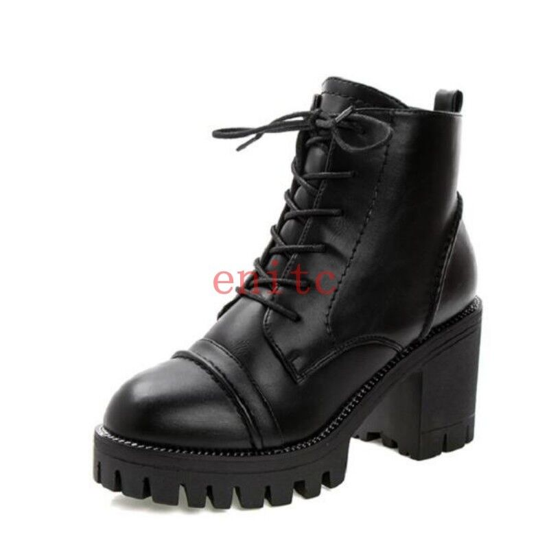 Platform Block Heel Punk Womens Ankle Boots Warm Lined shoes Stylish Party OL
