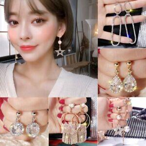 Fashion-Gold-Silver-Crystal-Geometric-Hoop-Earrings-Women-Jewelry-Party-Wedding