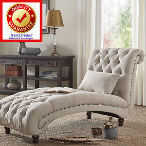 Image is loading Linen-Upholstered-Oversize-Chaise-Lounge-Chair-in-Beige- & Linen Upholstered Oversize Chaise Lounge Chair in Beige with ...