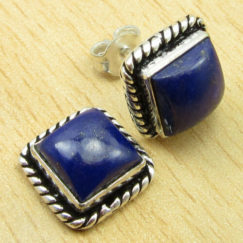 925 Silver Plated SQUARE LAPIS LAZULI /& Other Gemstone PIERCED STUD Earrings