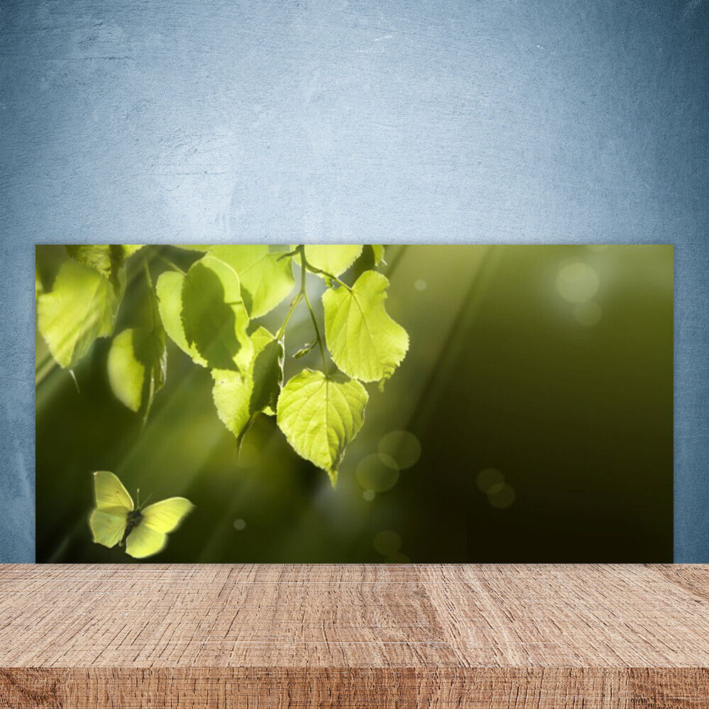 Crédence de cuisine en verre Panneau Paroi 100x50 Nature Feuilles Papillon