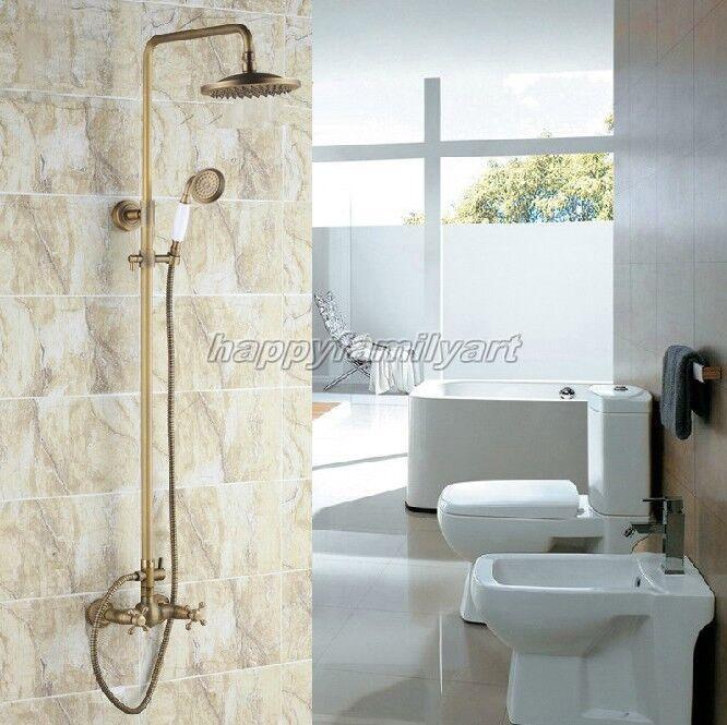 Latón antiguo grifo del cuarto de baño ducha de lluvia conjunto de dos manijas grifo mezclador yrs108