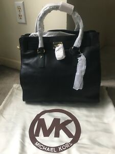 29a25ffdc5c791 NWT Michael Kors Hamilton Large North / South Tote Handbag Black ...