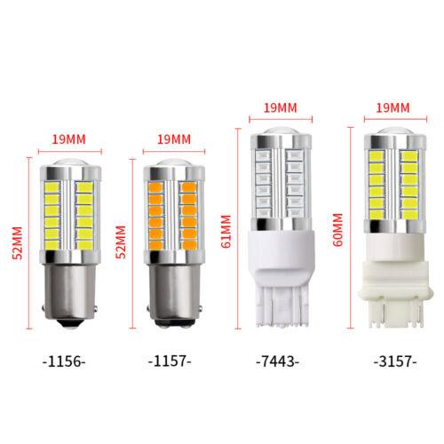 4X Bright White P21W 1156 BA15S Cree 33SMD LED Bulbs Revise Backup Brake Light