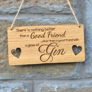 Christmas Gift Ideas For Friends.Details About Hanging Wooden Gin Plaque For Best Friends Birthday Christmas Gift Idea