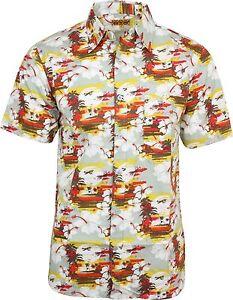 Run-amp-Fly-clasico-hombre-Puesta-De-Sol-Escena-Camisa-Hawaiana-Kitsch-Retro-Indie
