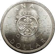 1964 CANADA Charlottetown Quebec Commemorative LARGE Dollar Silver Coin i53079