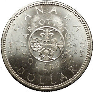 1964-CANADA-Charlottetown-Quebec-Commemorative-LARGE-Dollar-Silver-Coin-i53079