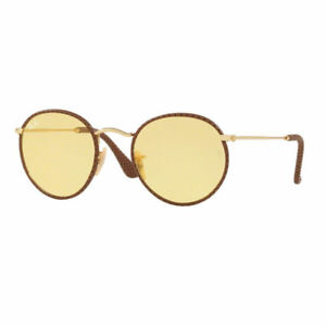 Ray Ban 3475q 3475 q 50 90424a Light Brown Leather Round AMBERMATIC Lenses 33a115fb8e