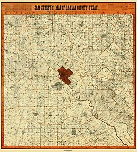 Old County Map - Dallas Texas Landowner - Street 1902 - 23 x 25.52 ...