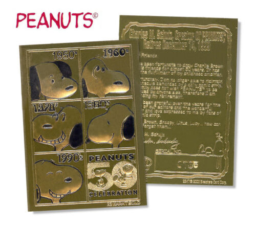 50th ANNIVERSARY Officially Licensed Genuine 23K GOLD Card SNOOPY PEANUTS