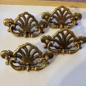 4 vintage brass toned  dresser drawer handle/ pulls