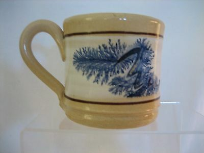 Yellow Ware East Knoll pottery Mug Seaweed w info