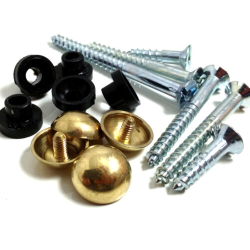 """1/"""" PACK OF 4 DECORATIVE MIRROR SCREWS WITH BRASS DOME SCREW IN HEADS * 25mm"""