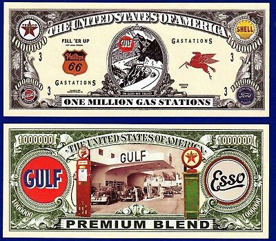 1 Noventy Note  Money-X2 FAKE GAS STATIONS  Dollar Bill  Collectible