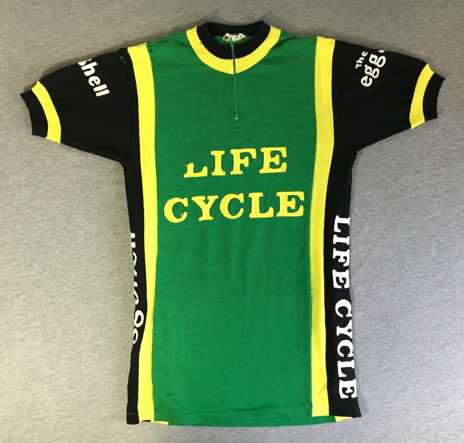 SANTINI Cycling Jersey Team GS Cicla Vita 80s Vtg Baleno Wool ITALY Eggshell Sew