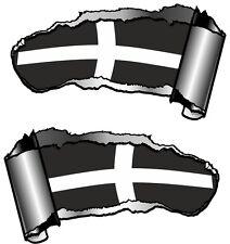 Pequeño Par rasgada Metal abierta Rip hueco entre dientes Cornwall Cornualles Kérnou Bandera Pegatina de Coche