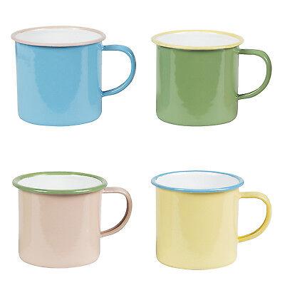 Four Two Tone Retro Pastel Enamel Camper Mugs * Camping Holiday Caravan Glamping