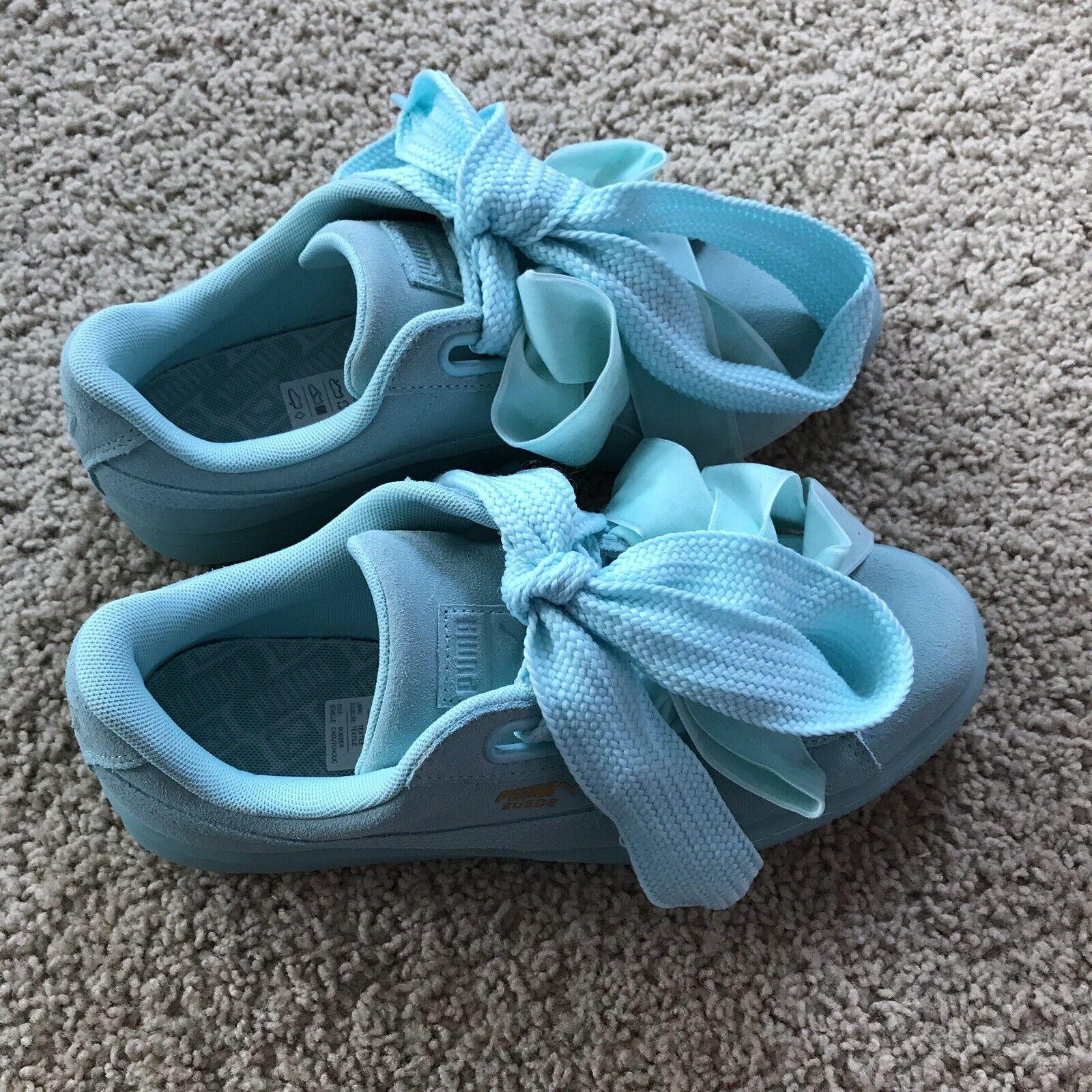 Puma Gamuza Corazón restablecer Zapatillas zapatos atléticos de arco 363229-01 Aqua verde Azulado Nuevo Sin Caja