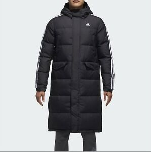 bab255abdb85f Adidas Men 3STR Long Down Coat Padded Jacket Black Warmer Top Parka ...