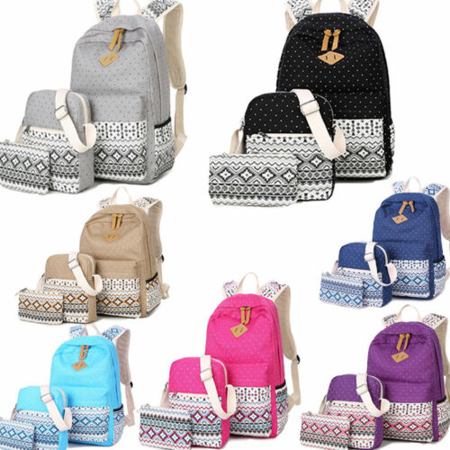 3pcs/Set Backpack Women Canvas Travel Bookbags School Bags f