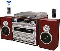 Techplay Record Player Turntable Dual Cd Player Cassette Recorder Bluetooth Usb