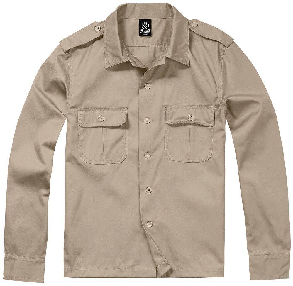 BRANDIT BRANDIT BRANDIT Chemise homme casual militaire Femmeches longues US chemise 1/1 Bras Beige 099bea