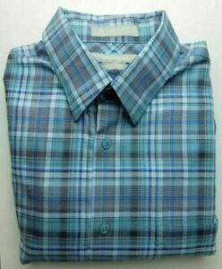 New-Blue-Teal-Check-Button-Down-Dress-Shirt-Regular-Fit-Large-L