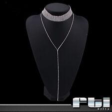 Silver Crystal Rhinestone Choker Long Pendant Necklace Wedding Bridal Jewelry