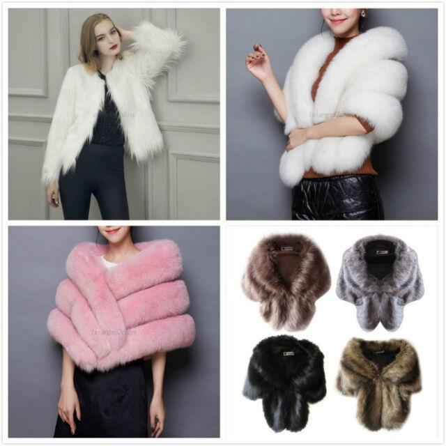 Warm Bridal Wedding Faux Fur Shrug Wrap Cape Bolero Scalf Shawl Coat Jacket