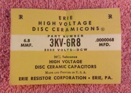 Disc Capacitors Choose value Vintage Erie High Voltage Ceramics Ceramicons