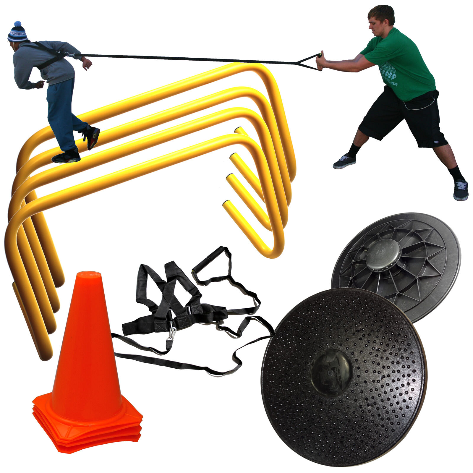 Core Stability Training Kit with Hurdles Cones Resistance Harness Balance Board