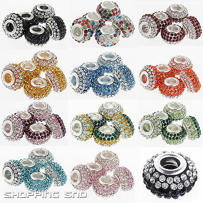 Gorgeous Czech Crystals Beads fit European Charm Bracelet Spacer Rhinestone Pave
