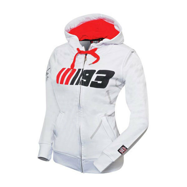 New Official Marc Marquez 93 White Womans Zip Up Hoodie - MMWFL 617 06