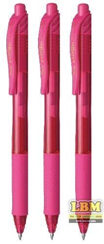 3 x Pentel EnerGel X Retractable Gel Roller Pens 0.7mm Tip Pink Ink BL107-P